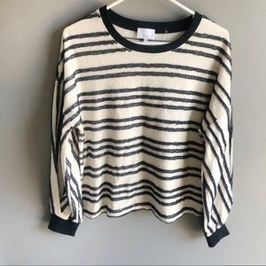 White + Warren Kinly Striped White Navy Sweater